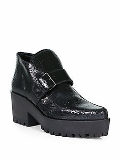 Are these ugly or fabulous????  Miu Miu Cracle Leather Platform Ankle Boots