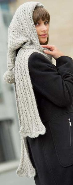 Free Hooded Scarf Knitting Pattern Pinterest Hooded Scarf Free