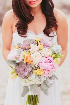 Pastel Flower and Succulent Bouquet | My Little Flower Shop | Janssen Powers Media | Abby Lee Events | We Are Diamond Eyes https://www.theknot.com/marketplace/we-are-diamond-eyes-atlanta-ga-874220