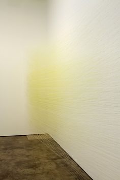 Anne Lindberg,  shift white  2013 Egyptian cotton thread, staples solo exhibition at Dolphin Gallery, Kansas City, MO January - March 2013