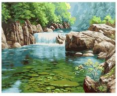 Small Waterfall & Pond Paint by Number Kit, Landscape DIY Painting picture on canvas Home decor wall art for adult DIY Painting Gift Landscape Paintings, Anime Scenery, Pond Painting, Scenery Paintings, Digital Painting, Landscape Pictures, Canvas Pictures, Water Painting, Environment Painting