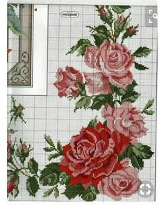 This Pin was discovered by Gül Cute Cross Stitch, Cross Stitch Rose, Cross Stitch Borders, Cross Stitch Flowers, Cross Stitch Charts, Cross Stitching, Cross Stitch Embroidery, Hand Embroidery, Cross Stitch Patterns