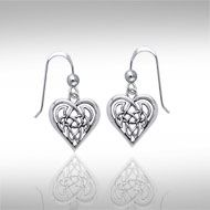 Celtic Knotwork Silver Heart Earrings TER378 -  The Celtic Heart has traditionally been symbolic of endless love, passion, and strength, and the tasteful and intricate design of the knotwork woven into the Heart adds a dimension of eternity to an already beautiful concept. Entwined with Celtic Knotwork that speaks of eternity, these sterling silver earrings by Peter Stone are a finely crafted reminder that true love is eternal.