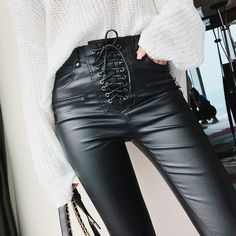 Women Fashion High Waist PU Leather Trousers Lace-up Skinny Pencil Pants Girls Zipper Cuff Faux Leather Spring Winter Pants - Black - Pants Capris # # Lace Up Leather Pants, Leather Pants Outfit, Lace Pants, Leather Trousers, Pu Leather, Leather Jackets, Lederhosen Outfit, Beste Leggings, Lace Outfit