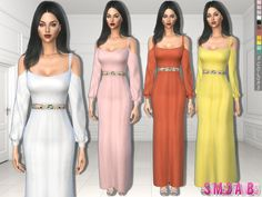 .:325 - Dress With Open Sleeves and Belt:.  Found in TSR Category 'Sims 4 Female Everyday'