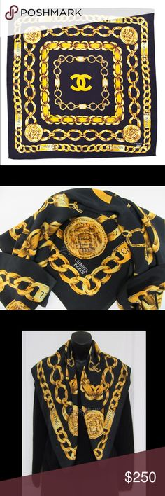 Chanel Silk Scarf Stunning Chanel Signature Logo and Chain Design Silk Scarf  in a Hunter Green. 8c3d375a6d16b