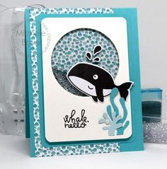 Whale Hello card by Michele Boyer for Paper Smooches - Huge Hugs stamp set, Huge Hugs Icons dies, Ocean Scene
