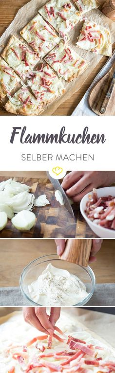 Das Elsässer Original – so backst du hauchdünnen Flammkuchen The best tarte flambée in the world is at your home! With these tricks he will be incredibly crispy and delicious! Best Pancake Recipe, Yummy Food, Tasty, Soul Food, Finger Foods, I Foods, Food Inspiration, The Best, Food Porn