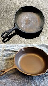 DIY: Reconditioning & Re-Seasoning Cast Iron Cookware - this is a great tutorial on how to remove rust & yuck from dirty, thrifted cast iron pans.