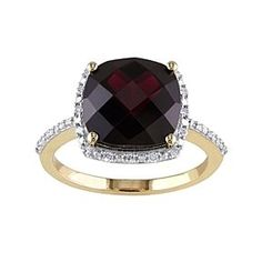 10K Yellow Gold Garnet And Diamond Ring # Free Stud Earrings by JewelryHub on Opensky