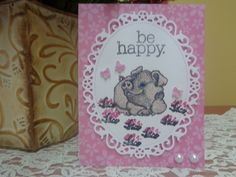 "Whimsical smiling pig / butterflies ""be happy"" greeting card by LuvinItCREATIONS on Etsy"