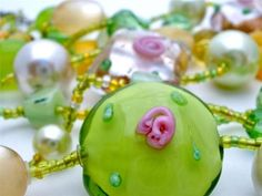 Esmor Vintage Lampwork Glass Necklace Bead Pearl MOP Crystal Double Strand | eBay