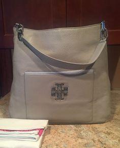 Tory Burch Britten Hobo Bag Grey   eBay