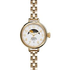 Shinola The Birdy 34mm White Dial Moon Face Watch ($575) ❤ liked on Polyvore featuring jewelry, watches, stainless steel wrist watch, stainless steel jewellery, white faced watches, stainless steel jewelry and stainless steel watches