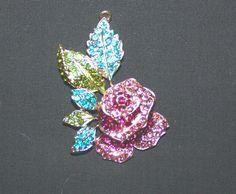 Enamel Rose Rhinestone Pendant with Leaves - Jewelry Rose - Supplies Bead - Supplies Rhinestones - Jewelry Pendant on Etsy, $16.71 CAD
