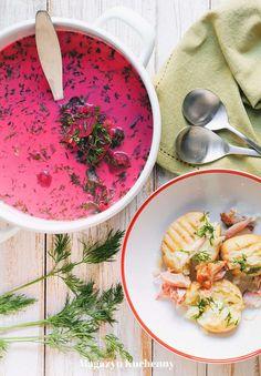 Polish young beetroot soup | Botwinka na wędzonych skrzydełkach z kurczaka
