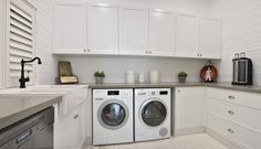 Are you seeking more efficiency in your household? Combine your laundry and scullery into one room like we did for this project in Cottesloe. Kitchen Renovation Design, Kitchen Designs, Kitchen Ideas, Basement Kitchen, Living Room Kitchen, Laundry Room Lighting, Laundry Design, Kitchenette, Custom Cabinets