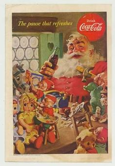 Santa Claus in Coca Cola advertising. Drawn by  Haddon Sundblom.