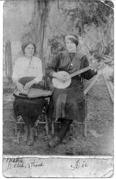 c1919….Sara Carter (banjo) and her cousin Maybelle (auto harp), about eight years before the first recordings of the Carter Family.