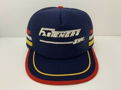 Vintage 3 Stripe Fasteners Inc Trucker Hat Cap Snapback Blue Yellow Red Wh USA #Unbranded #TruckerHat Hipster Stuff, Vintage Trucker Hats, Vintage Man, Fasteners, Brunei, St Kitts, Cambodia, Blue Yellow, Croatia
