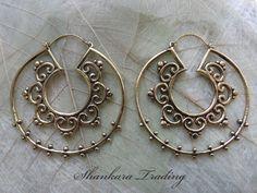 Brass Tribal Earrings Hoop Earrings Tribal by ShankaraTrading