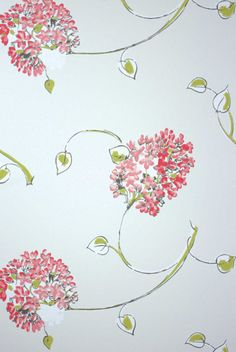 Nina-Campbell - Corhsam (stylised hydrangeas) Wallpaper, (Woodsford Autumn 2012 collection) - via Heart to Home