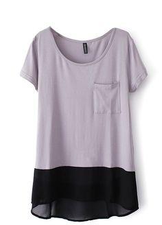 Grey Short Sleeve Pocket Dipped Hem Chiffon T-Shirt