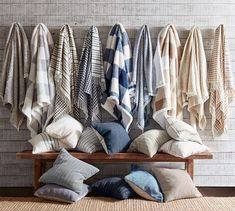 """mypotterybarn potterybarn cozy blankets """"You'll have a hard time picking sides since this throw is Cath Kidston, Visual Merchandising, Luxury Bedding Sets, Modern Bedding, Ticking Stripe, Bed Styling, Linen Bedding, Bed Linens, Comforter"""
