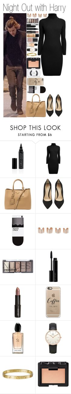 """""""• Night Out with Harry"""" by dianasf ❤ liked on Polyvore featuring CARGO, Rumour London, Prada, Gianvito Rossi, H&M, Maison Margiela, Illamasqua, Lord & Berry, Bare Escentuals and Forum"""