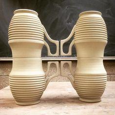 I had some fun stacking these. #ceramics #pottery #contemporaryceramics #clay #stoneware #greenware #wheelthrown #handmade #mug #PIAnegativespace