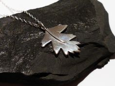 Handmade silver hawthorn leaf pendant by Holly Wilcox
