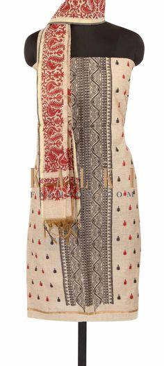 Dark beige unstitched suit adorn in resham embroidery only on Kalki
