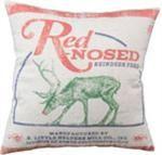 Grain Sack Pillow - Red Nosed Reindeer