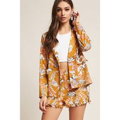 Forever21 RD & Koko Ruffle Floral Print Shorts ($35) ❤ liked on Polyvore featuring shorts, floral shorts, forever 21 shorts, elasticated waist shorts, frilly shorts and forever 21