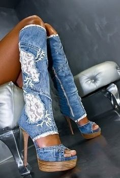 2014 hotsale fashion Blue denim white lace high heel jean knee high boots