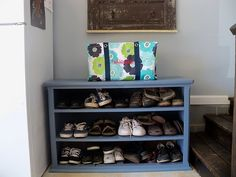 Old Dresser with no drawers turned into a shoe rack...perfect the garage or closet
