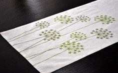 Camino de mesa ropa de mesa corredor crema lino verde por KainKain