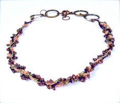 Autumn Colors Multi Strand Braided & Beaded Necklace by CuriousPurplePig, $6.00
