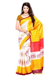 Especial Art Silk Print Work Casual Saree