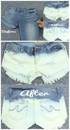 Fashion Hack: Ways to Turn Worn Jeans into Jean Shorts- DIY Old Pants Into Cool Bleached Distressed Shorts Tutorial - Jean Shorts - Ideas of Jean Shorts Diy Distressed Jeans, Diy Old Jeans, Diy Ripped Jeans, Making Jean Shorts, Cut Jean Shorts, Black Bleached Shirt, Bleached Jeans, Bleach Shirts, Cut Shirts