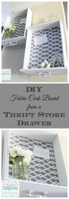 DIY Fabric Covered Bulletin Board from a thrift store drawer-for Kitchen wall