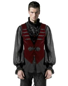 Punk-Rave-Hombre-Chaleco-Frac-Camiseta-Rojo-Negro-Terciopelo-Goth