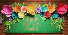 Paper flower bulletin board April PTA silhouette cameo spring is part of Art bulletin boards - Garden Bulletin Boards, Flower Bulletin Boards, Spring Bulletin Boards, Preschool Bulletin Boards, Classroom Bulletin Boards, April Bulletin Board Ideas, Bulletin Board Paper, Bulletin Board Ideas For Teachers, Garden Theme Classroom