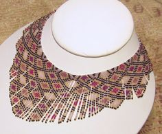 Pink chocolate seed bead necklace, beaded necklace, beadwork necklace, brick stitch fringe, bib necklace, handmade original design.