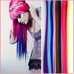 Colorful Hair Extensions Long Straight Synthetic easy Clip In Extensions Party Highlights Punk Hair Fashion