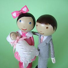 Peg dolls - couple with baby
