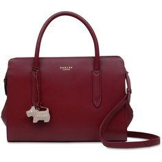 Radley London Liverpool Street Zip-top Multiway Medium Satchel (915 RON) ❤ liked on Polyvore featuring bags, handbags, berry, red satchel bag, medium satchel, red satchel handbag, satchel bags and red satchel purse