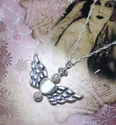 Handmade Silver Beaded ANGEL Heart Pendant Necklace by NatureAngels on Etsy, $15.00