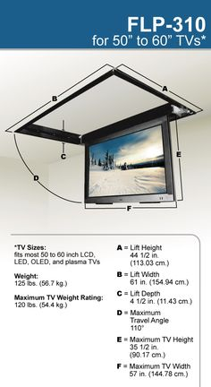 Motorized Drop Down Ceiling TV Bracket the lift can specifically accommodate TVs up to 47 inches wide by 28 inches high (outside dimensions). Tv Ceiling Mount, Ceiling Tv, Tv Hanging From Ceiling, Tv Escondida, Salas Home Theater, Kombi Trailer, Motorized Tv Lift, Plasma Tv Stands, Wall Mount Tv Stand