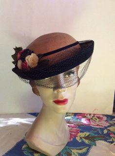 Vintage 1940s 1950s Hat Straw Blue Velvet Veiling Flowers Chapeaux Original by TimelessTreasuresVCB on Etsy